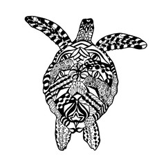 Zentangle stylized turtle. Sketch for tattoo or t-shirt.