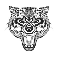 Zentangle stylized wolf. Sketch for tattoo or t-shirt.