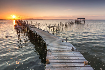 Sunset in an ancient fishing dock