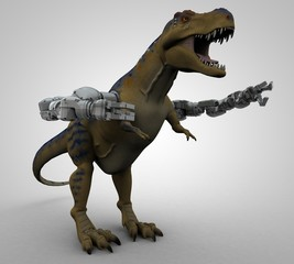 T-Rex with robotic arms
