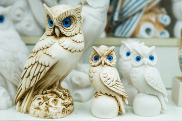 owl statues in a souvenir shop in Greece