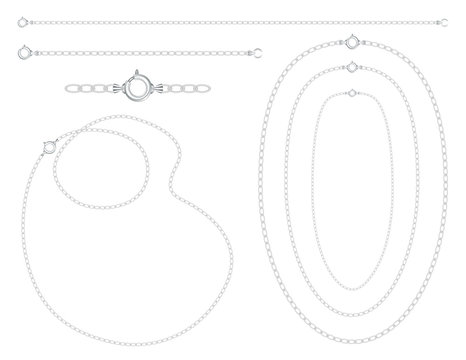 Silver chains, necklaces, bracelets, links, clasps, fashion jewelry, isolated on white background.