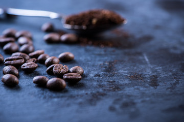 Roasted coffee beans, food background