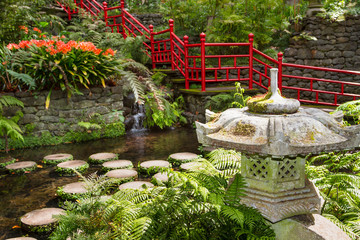 Fototapete - Pond and garden decoration in oriental style. Monte Palace Tropical Garden. Funchal, Portugal