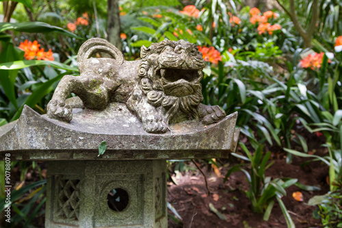Fototapete Foo Dog sculpture in Monte Palace Tropical Garden. Funchal, Madeira Island, Portugal