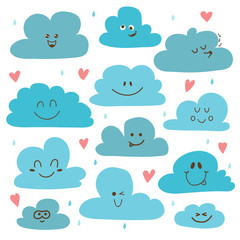 Cute hand drawn clouds. Funny weather theme