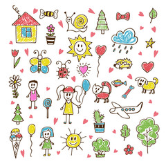 Doodle children drawing. Hand drawn set of drawings in child sty