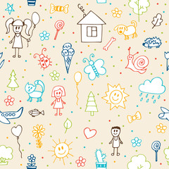 Hand drawn children drawings seamless pattern. Doodle children d