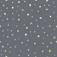 Hand drawn seamless pattern with night sky and stars