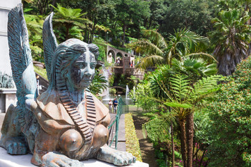 Fototapete - Sphinx statue at the Monte Palace. Funchal, Madeira, Portugal.