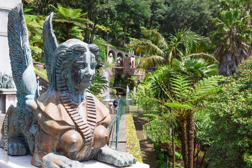 Fototapete Sphinx statue at the Monte Palace. Funchal, Madeira, Portugal.