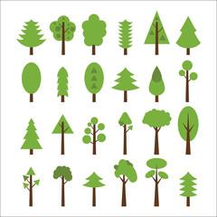 Set of flat icons tree. Green trees icons set