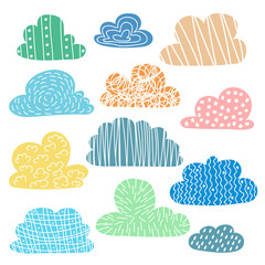 Set of hand drawn clouds with cute texture