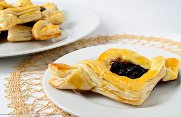 blackberry puff on white plate
