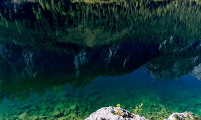 Mountain peak mirroring in lake Obersee