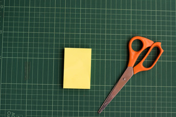 Post it and scissors.
