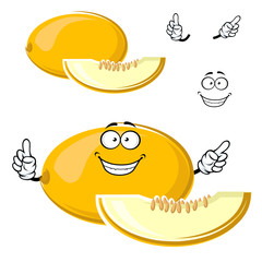 Cartoon yellow melon fruit with slice