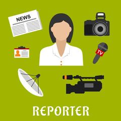 Reporter profession flat icons and symbols