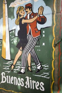 Street art tango graffiti in Buenos Aires, Argentina