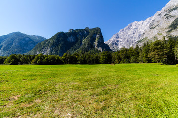 View of Alp mountains and green field from Konigsee, Germany