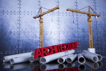 Architectural with Construction site and crane