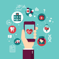 Online medical diagnosis and treatment concept with smartphone.
