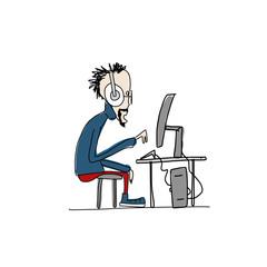 Programmer at work, sketch for your design