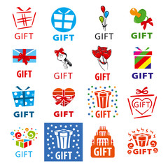 large set of vector logos gifts