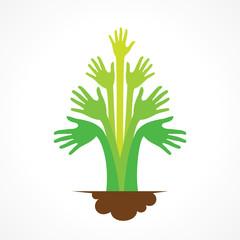 creative green hand tree design concept vector