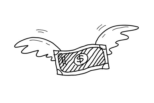 Inflation Doodle, a hand drawn vector doodle illustration of a money with wings soaring up high.