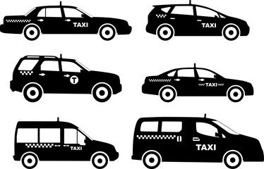 Set of different silhouettes taxi cars. Vector illustration Fototapete