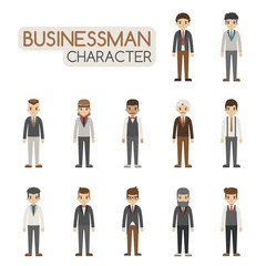 Set of businessman costume characters