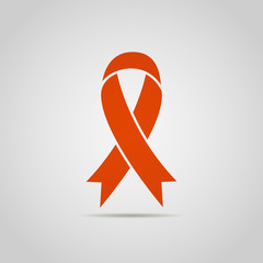 AIDS icon. Breast cancer awareness red ribbon