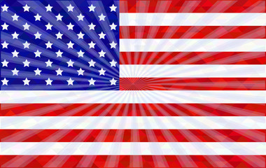 American flag with rays