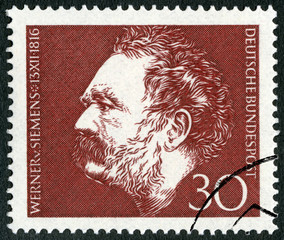 GERMANY - 1966: shows Ernst Werner Siemens (1816-1992), inventor