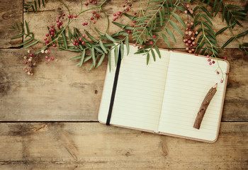 open blank vintage notebook and wooden pencil over wooden table