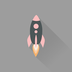 Icon rocket into flat style with long shadow