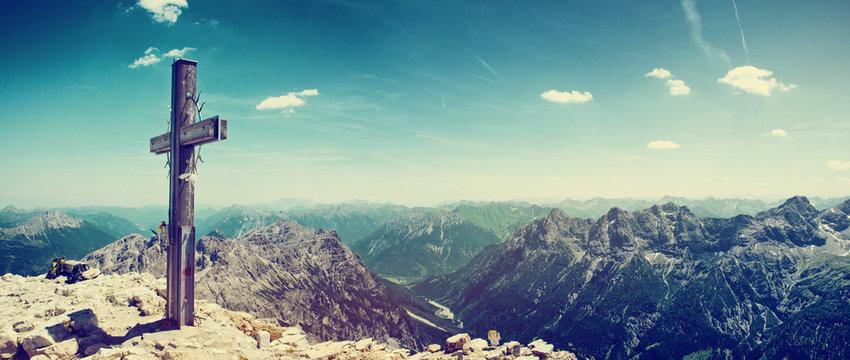 Summit Cross on Mountain Peek in Allgau Alps