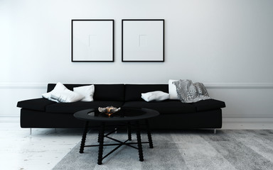 Black and White Contemporary Living Room
