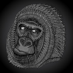 Patterned head of the gorilla in graphic style.