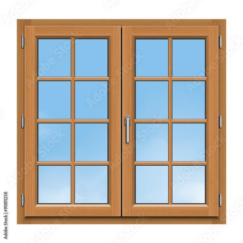 Fen tre bois 2 vantaux croisillons bois fichier for Acheter moustiquaire pour fenetre