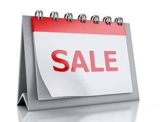 3d Sale word written on a calendar. special offer concept.