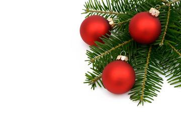 Rote  Weihnachtskugeln mit Tanne