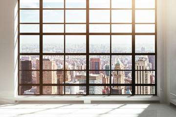 Fototapete - Empty loft interior with city view
