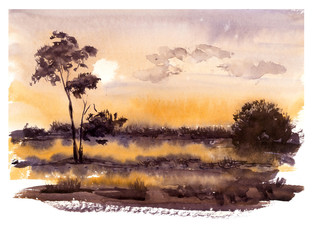 Landscape with a sunset. Fog in a meadow. Watercolor hand drawing illustration.