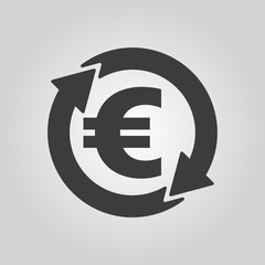 The currency exchange euro icon. Cash and money, wealth, payment symbol. Flat