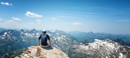 Man Enjoying View of Mountains in Allgau Alps
