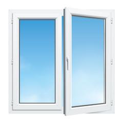 Fenêtre PVC entrouverte 2 vantaux