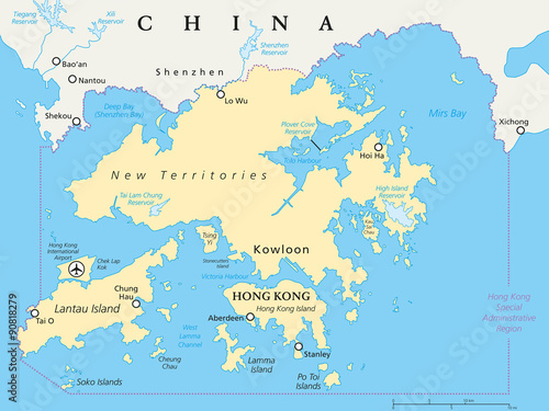 Hong Kong And Vicinity Political Map World Financial Centre And - China political map in english