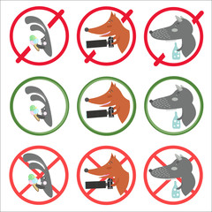 Prohibitory signs and allow for different occasions: hare holding ice cream, fox making photos, wolf drinking alcohol.